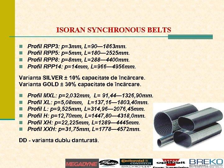 ISORAN SYNCHRONOUS BELTS n n Profil RPP 3: p=3 mm, L=90— 1863 mm. Profil
