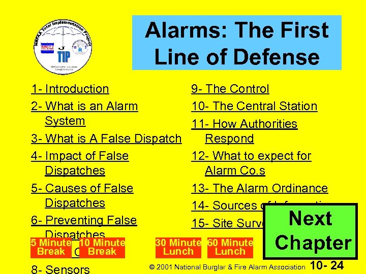 Alarms: The First Line of Defense 1 - Introduction 9 - The Control 2