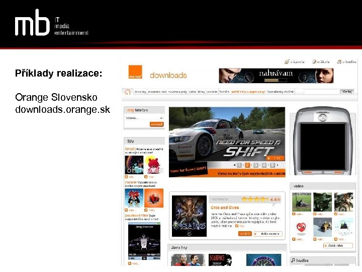 Příklady realizace: Orange Slovensko downloads. orange. sk
