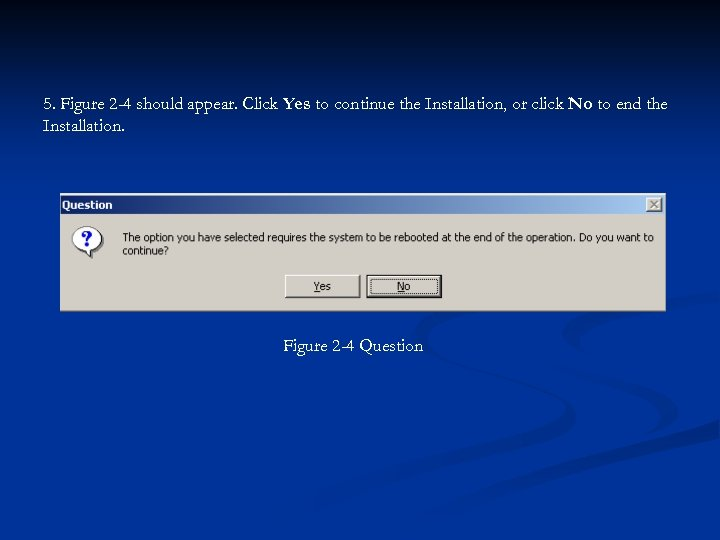 5. Figure 2 -4 should appear. Click Yes to continue the Installation, or click
