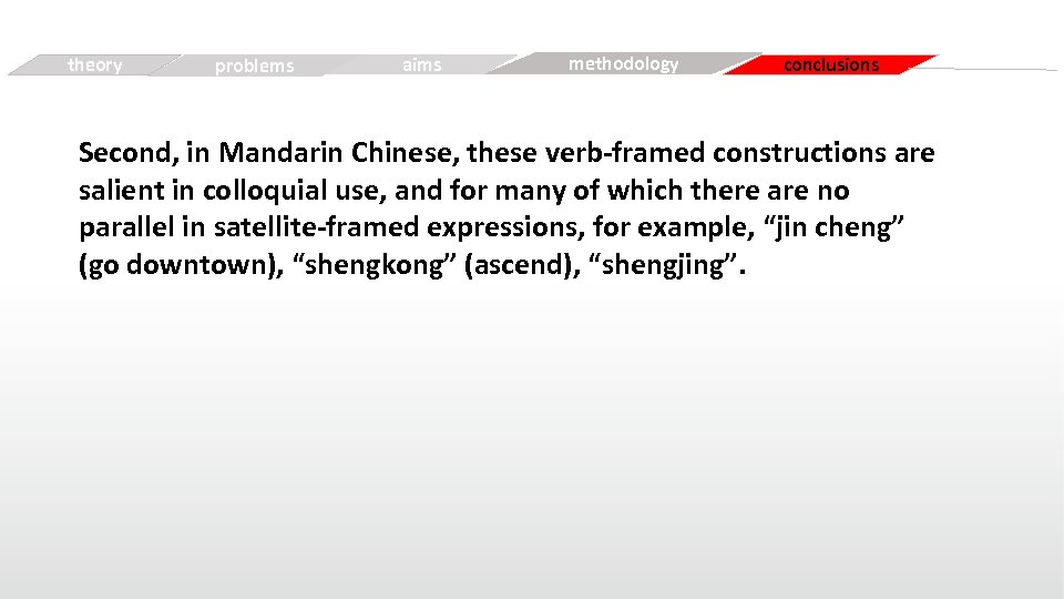theory Simple problems aims Free methodology conclusions Second, in Mandarin Chinese, these verb-framed constructions