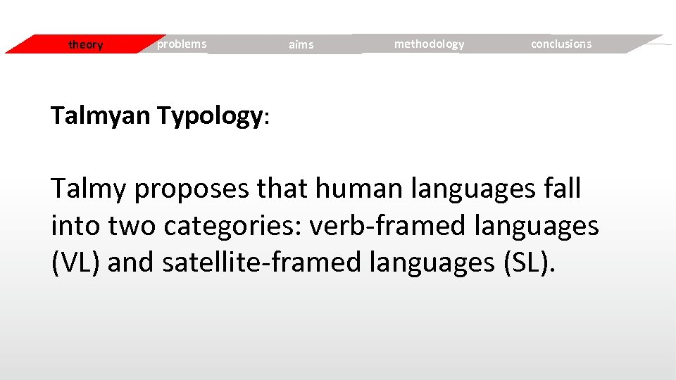 Simple theory problems aims Free methodology conclusions Talmyan Typology: Talmy proposes that human languages