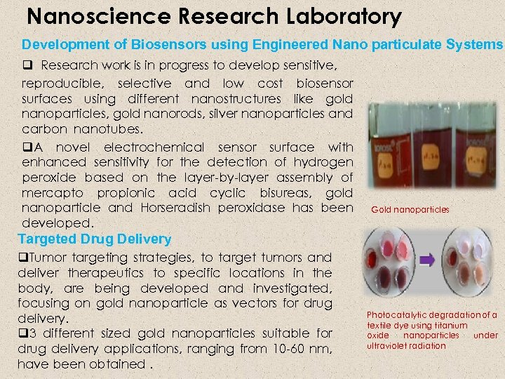 Nanoscience Research Laboratory Development of Biosensors using Engineered Nano particulate Systems q Research work