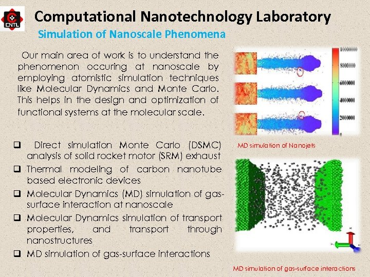 Computational Nanotechnology Laboratory Simulation of Nanoscale Phenomena Our main area of work is to