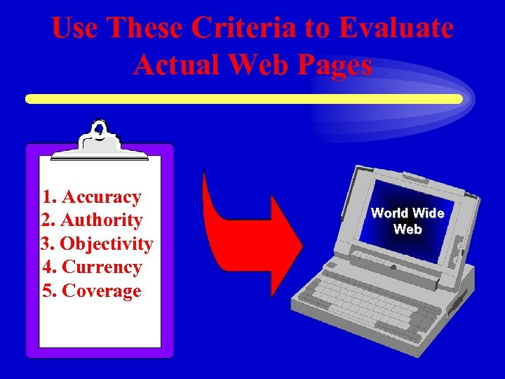 Use These Criteria to Evaluate Actual Web Pages 1. Accuracy 2. Authority 3. Objectivity