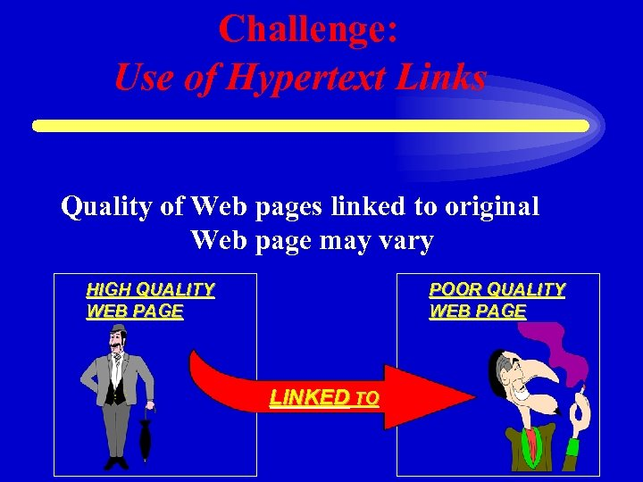 Challenge: Use of Hypertext Links Quality of Web pages linked to original Web page