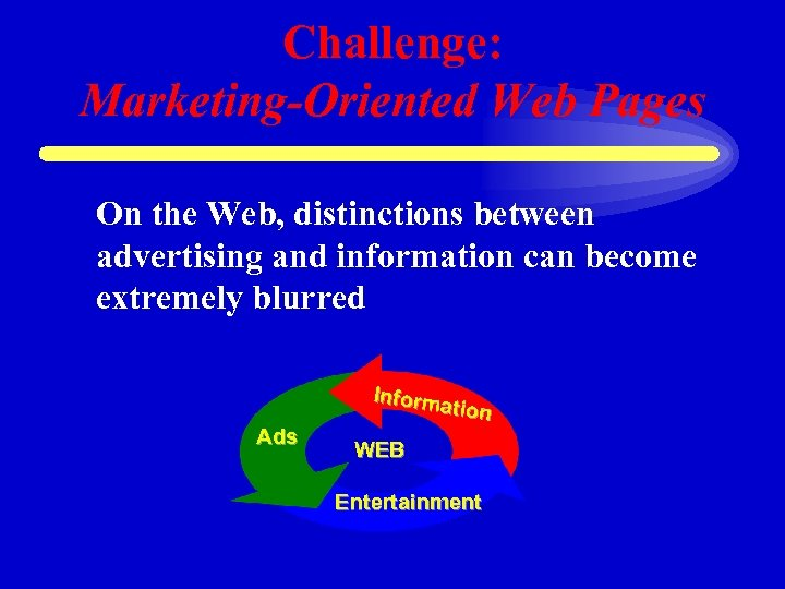 Challenge: Marketing-Oriented Web Pages On the Web, distinctions between advertising and information can become