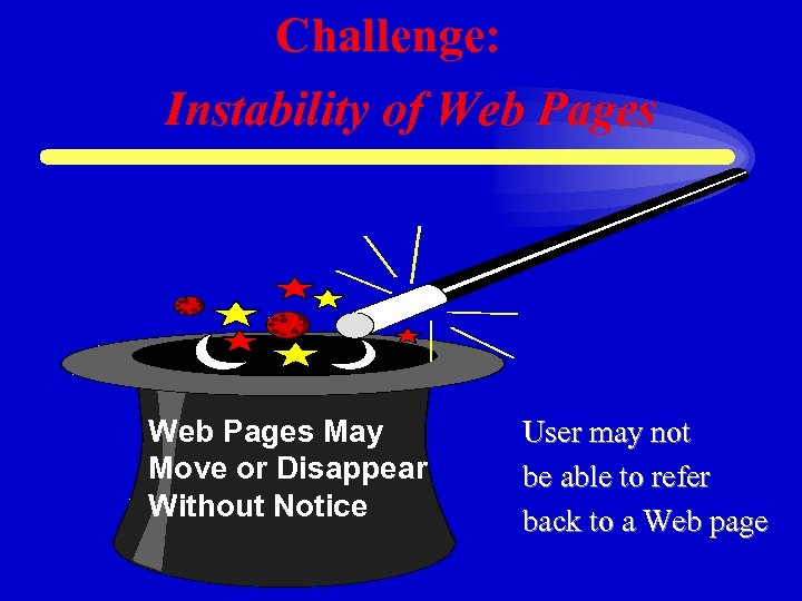 Challenge: Instability of Web Pages May Move or Disappear Without Notice User may not