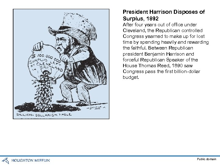 President Harrison Disposes of Surplus, 1892 After four years out of office under Cleveland,