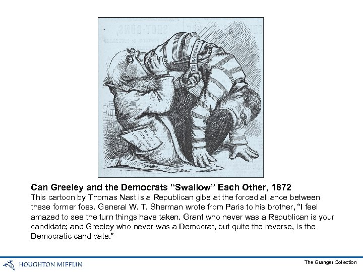 "Can Greeley and the Democrats ""Swallow"" Each Other, 1872 This cartoon by Thomas Nast"