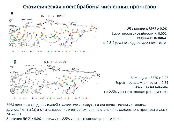 Статистическая постобработка численных прогнозов а 25 станции с RPSS > 0. 06 Вероятность случайности