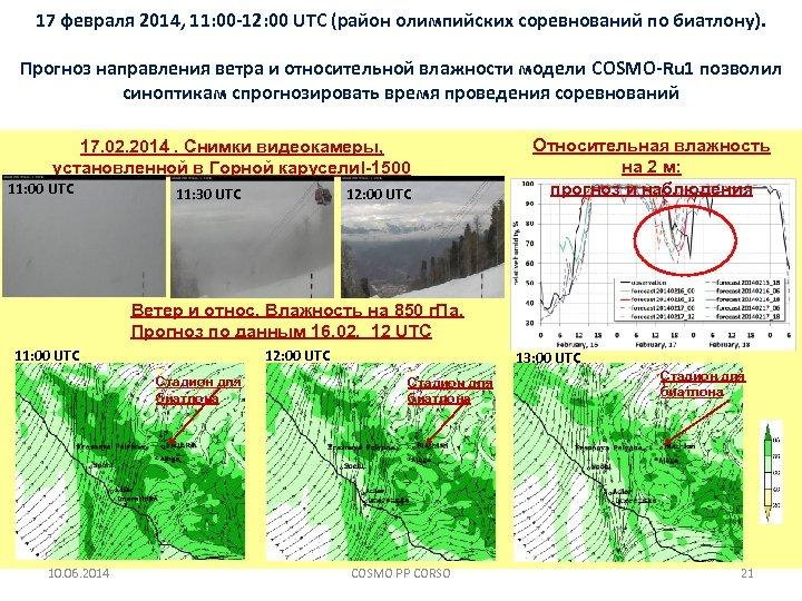 17 февраля 2014, 11: 00 -12: 00 UTC (район олимпийских соревнований по биатлону). Прогноз