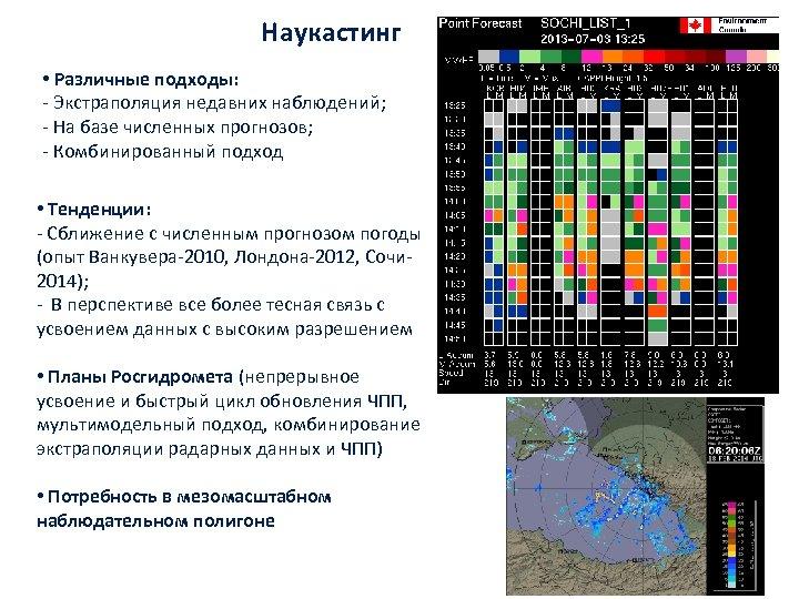 Наукастинг • Различные подходы: ‐ Экстраполяция недавних наблюдений; ‐ На базе численных прогнозов; ‐