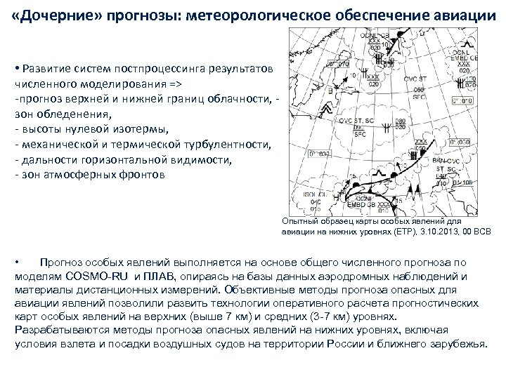 «Дочерние» прогнозы: метеорологическое обеспечение авиации • Развитие систем постпроцессинга результатов численного моделирования =>