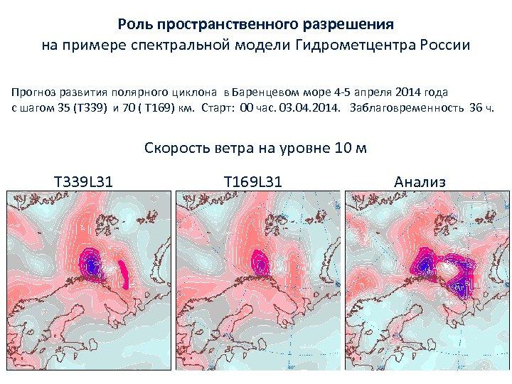 Роль пространственного разрешения на примере спектральной модели Гидрометцентра России Прогноз развития полярного циклона в