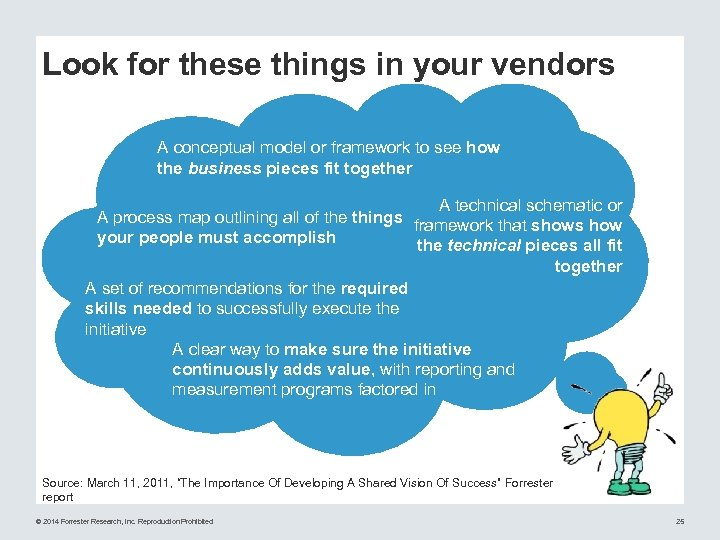 Look for these things in your vendors A conceptual model or framework to see