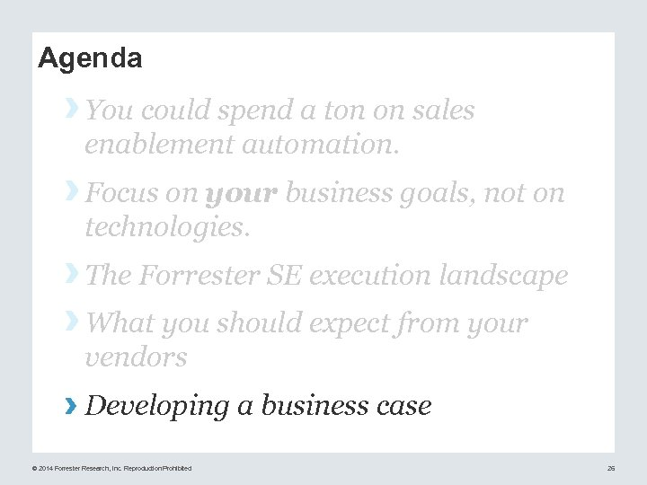 Agenda › You could spend a ton on sales enablement automation. › Focus on