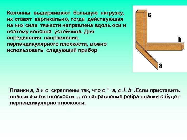Колонны выдерживают большую нагрузку, их ставят вертикально, тогда действующая на них сила тяжести направлена