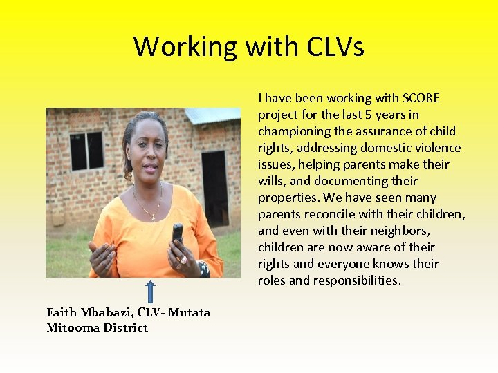 Working with CLVs I have been working with SCORE project for the last 5