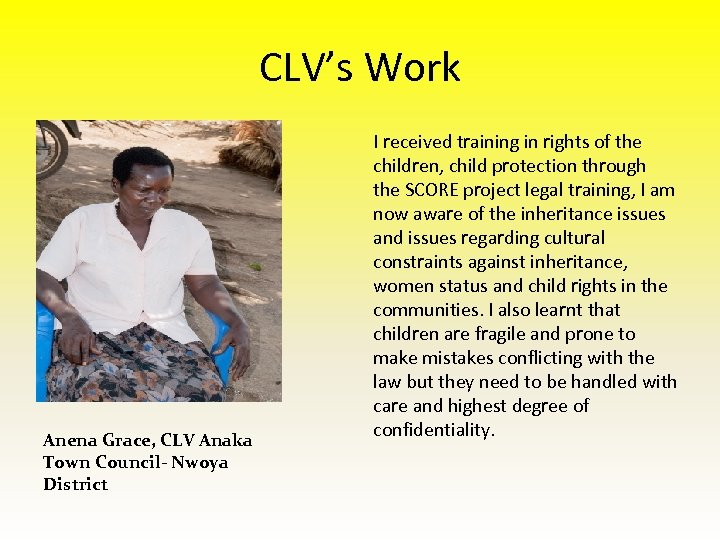 CLV's Work Anena Grace, CLV Anaka Town Council- Nwoya District I received training in