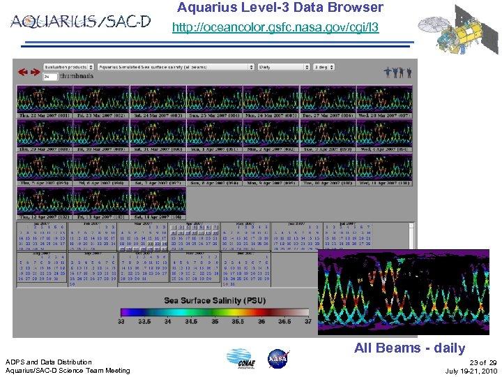 Aquarius Level-3 Data Browser http: //oceancolor. gsfc. nasa. gov/cgi/l 3 All Beams - daily