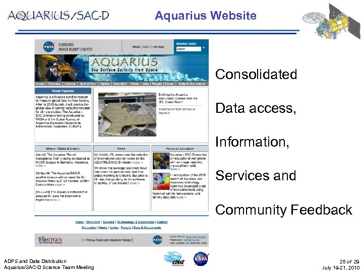 Aquarius Website Consolidated Data access, Information, Services and Community Feedback ADPS and Data Distribution