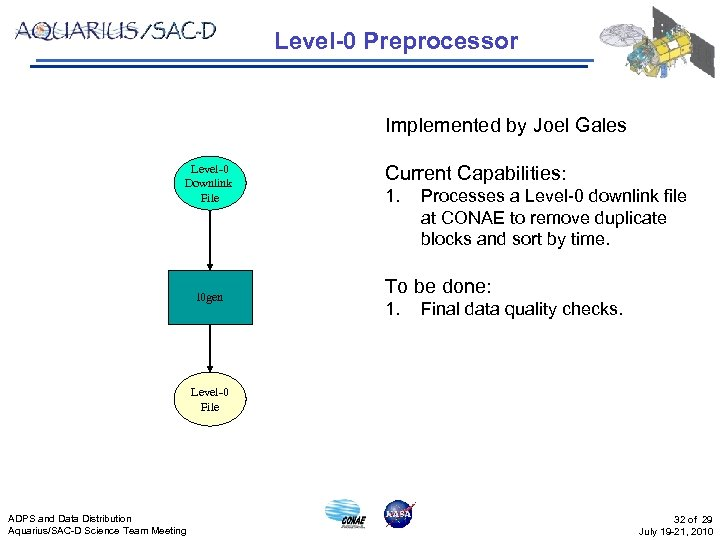Level-0 Preprocessor Implemented by Joel Gales Level-0 Downlink File l 0 gen Current Capabilities: