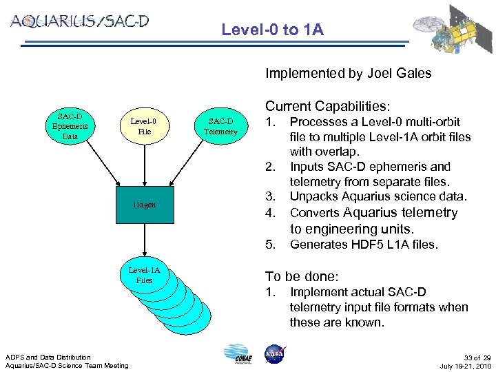 Level-0 to 1 A Implemented by Joel Gales SAC-D Ephemeris Data Current Capabilities: Level-0