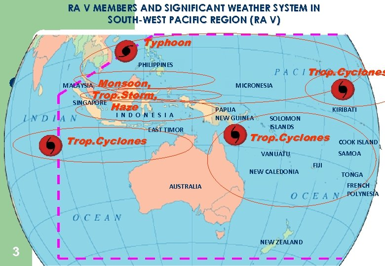 RA V MEMBERS AND SIGNIFICANT WEATHER SYSTEM IN SOUTH-WEST PACIFIC REGION (RA V) Typhoon