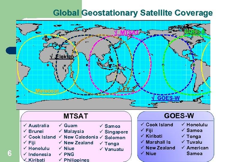Global Geostationary Satellite Coverage MTSAT GOES-E Elektro FY-2 Meteosat GOES-W MTSAT 6 ü ü