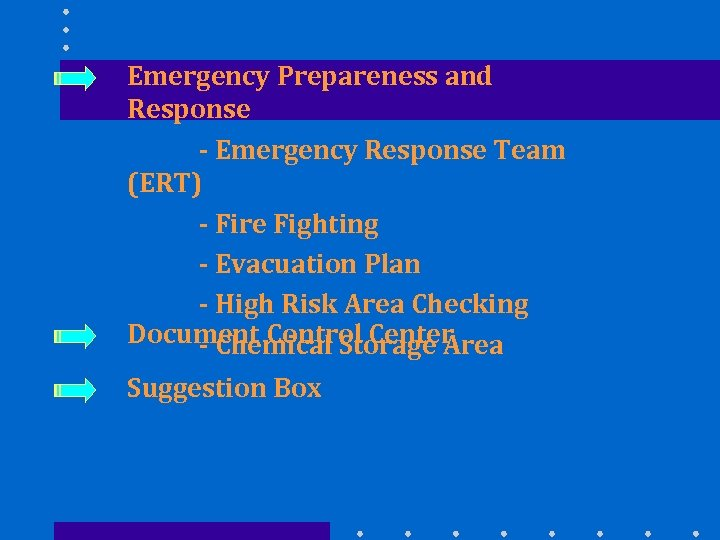 Emergency Prepareness and Response - Emergency Response Team (ERT) - Fire Fighting - Evacuation