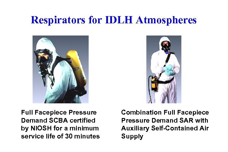 Respirators for IDLH Atmospheres Full Facepiece Pressure Demand SCBA certified by NIOSH for a