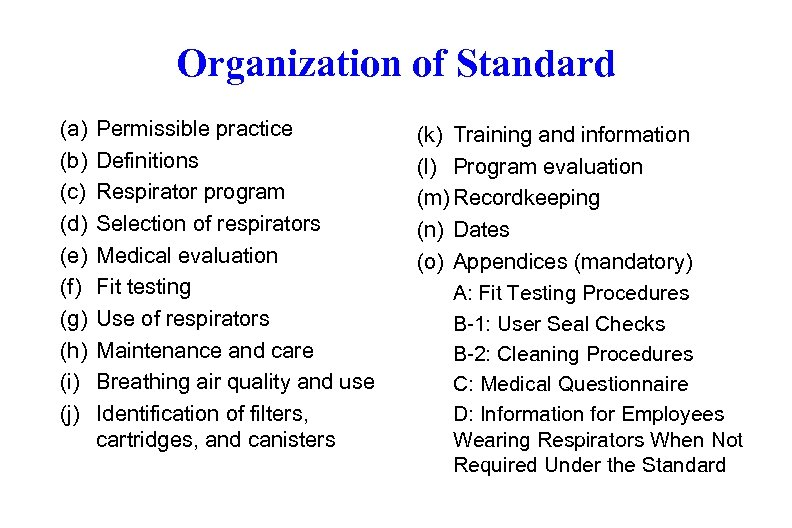 Organization of Standard (a) (b) (c) (d) (e) (f) (g) (h) (i) (j) Permissible