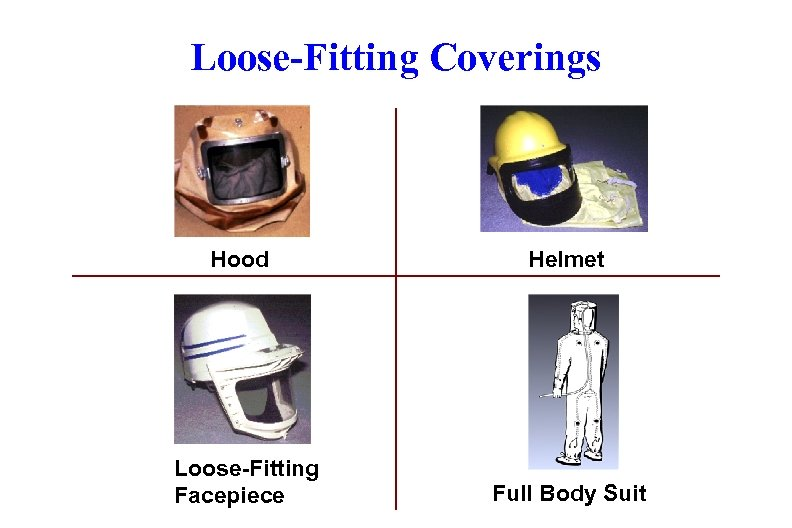 Loose-Fitting Coverings Hood Loose-Fitting Facepiece Helmet Full Body Suit