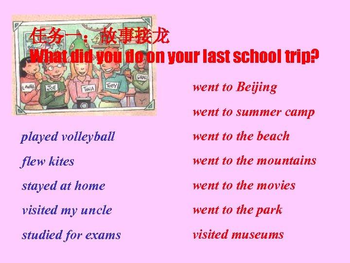 任务一:故事接龙 What did you do on your last school trip? went to Beijing went