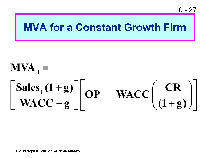 10 - 27 MVA for a Constant Growth Firm Copyright © 2002 South-Western