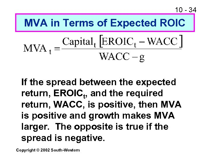 10 - 34 MVA in Terms of Expected ROIC If the spread between the