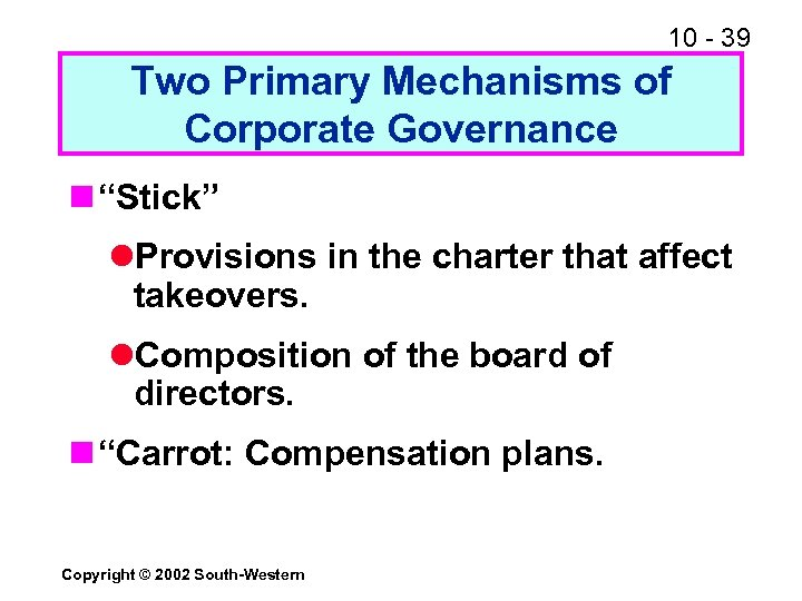 """10 - 39 Two Primary Mechanisms of Corporate Governance n """"Stick"""" l. Provisions in"""