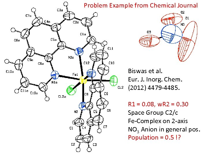 Problem Example from Chemical Journal Biswas et al. Eur. J. Inorg. Chem. (2012) 4479