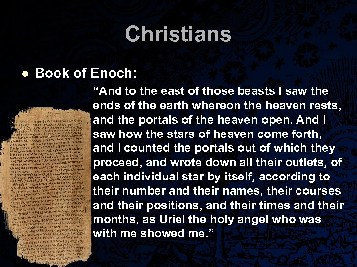 "Christians l Book of Enoch: ""And to the east of those beasts I saw"