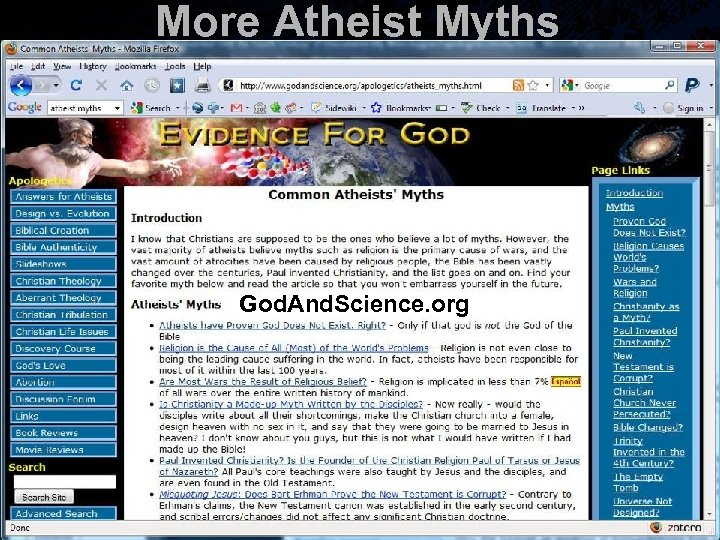 More Atheist Myths God. And. Science. org