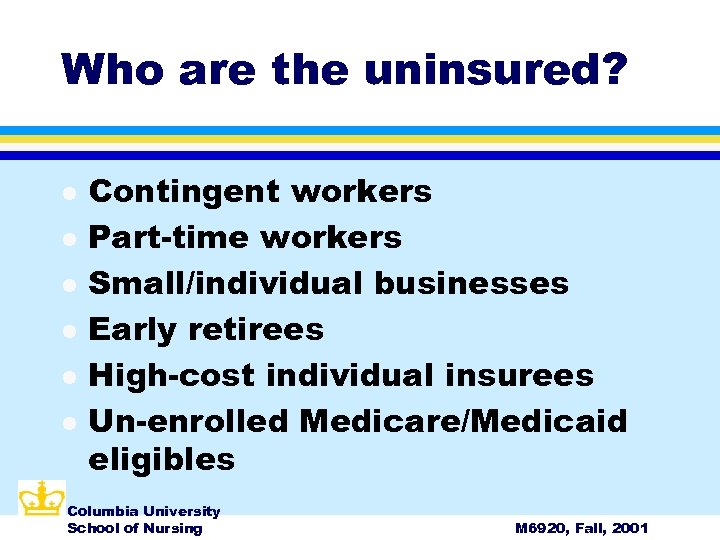 Who are the uninsured? l l l Contingent workers Part-time workers Small/individual businesses Early