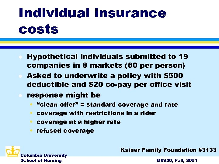 Individual insurance costs l l l Hypothetical individuals submitted to 19 companies in 8