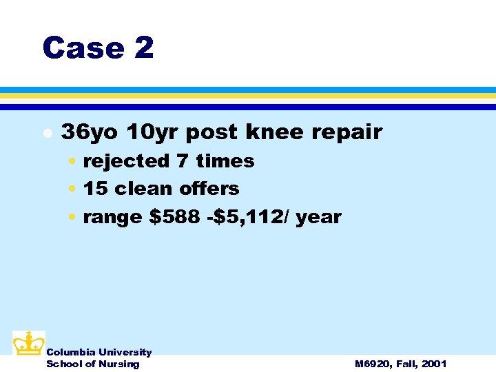 Case 2 l 36 yo 10 yr post knee repair • rejected 7 times