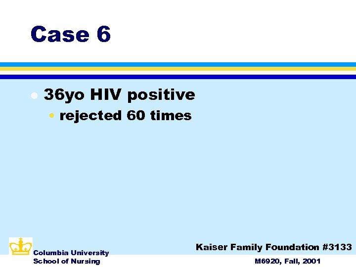 Case 6 l 36 yo HIV positive • rejected 60 times Columbia University School