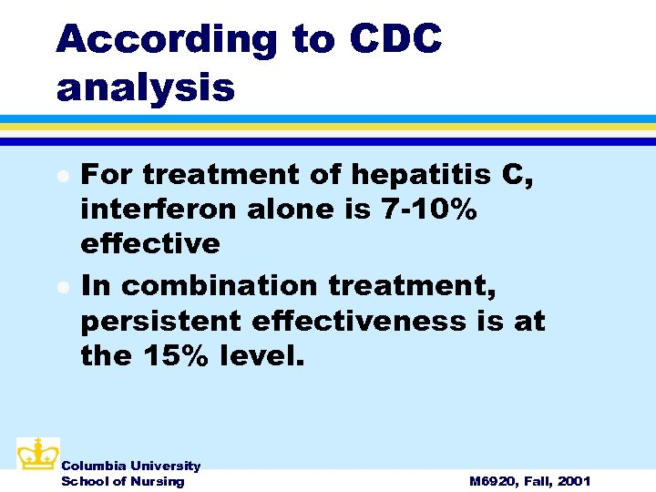 According to CDC analysis l l For treatment of hepatitis C, interferon alone is