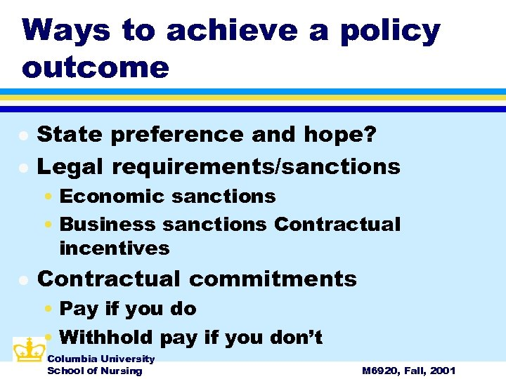 Ways to achieve a policy outcome l l State preference and hope? Legal requirements/sanctions