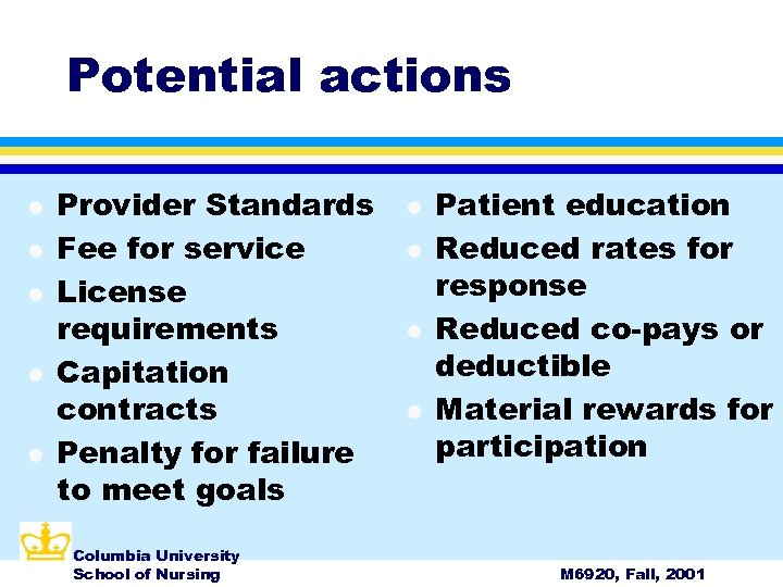 Potential actions l l l Provider Standards Fee for service License requirements Capitation contracts