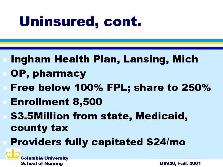 Uninsured, cont. l l l Ingham Health Plan, Lansing, Mich OP, pharmacy Free below