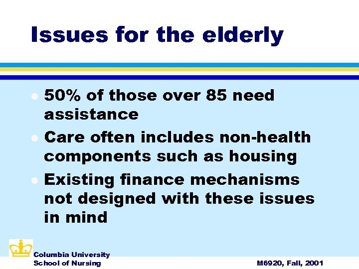 Issues for the elderly l l l 50% of those over 85 need assistance